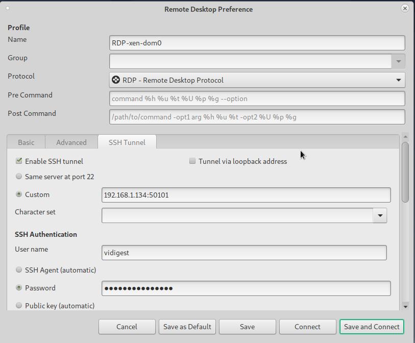 Remmina ssh tunnel tab settings